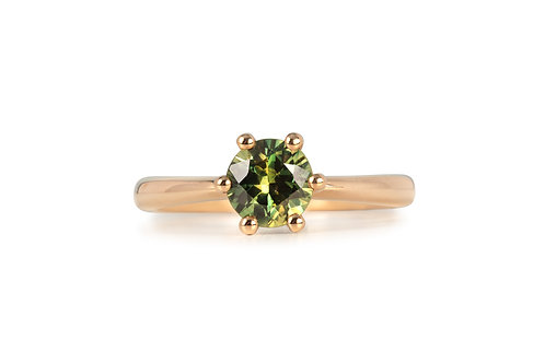 Green Yellow  Brilliant Solitare Sapphire Ring