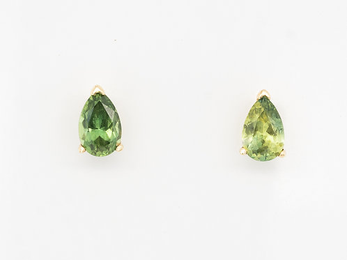 Green Yellow Drop Sapphire Ear Studs