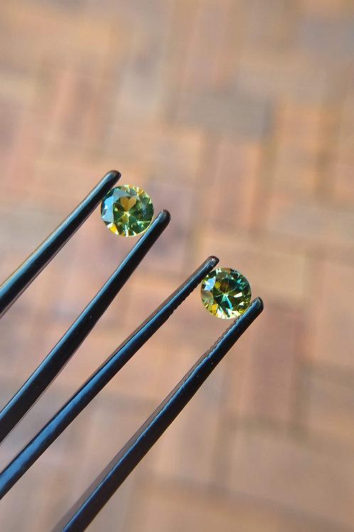 Yellow/Green Brilliant Sapphire Pair