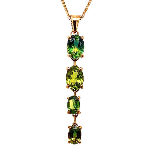 Green Yellow Oval Sapphires Pendant
