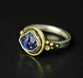 Silverspirals rough sapphire ring.JPG