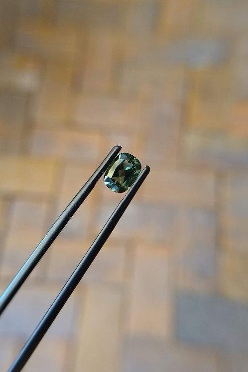 Blue/Green Cushion Sapphire
