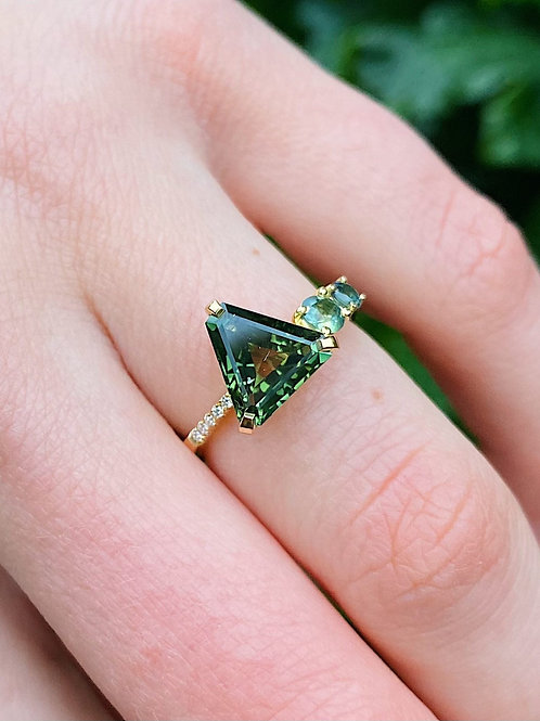 Freeform Sapphire Engagement Ring