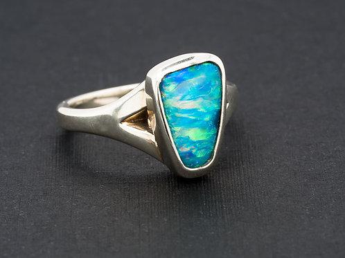 Blue Green Orange Solid Boulder Opal Ring