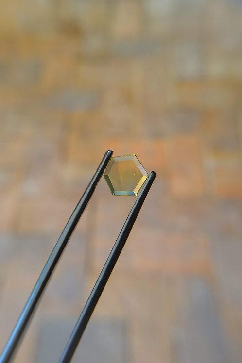 Yellow/Blue Hexagonal Faceted Flat Sapphire
