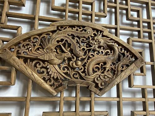 Hand carved garden ornaments - dragon/phoniex