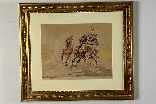 Cowboy taming wild horses