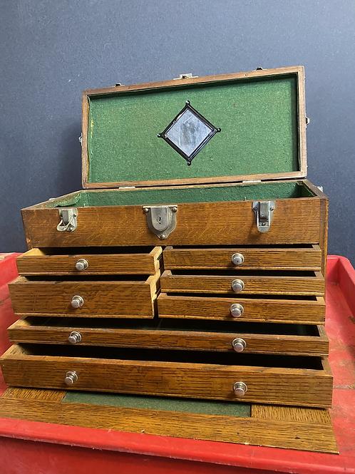 "Nice Gerstner & Sons 20"" Golden Oak 7-Drawer Machinist Tool Chest Box Toolbox"