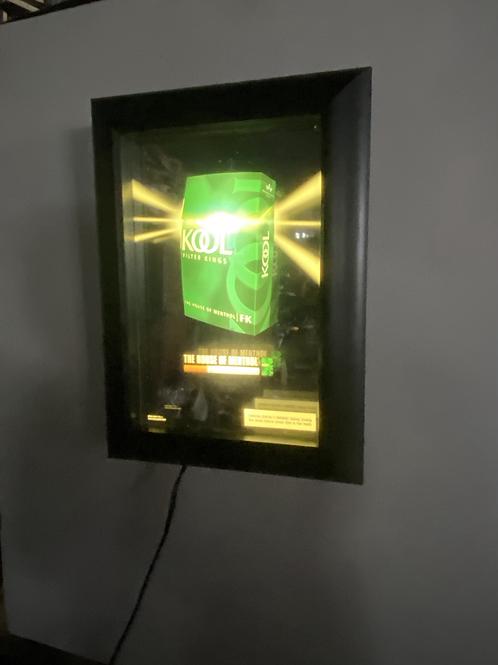 Kool Cigarette Lit Mirror Shadow Box Sign