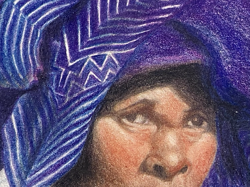 Marilyn Pedder print of original pencil art ( Xhosa lady) signed