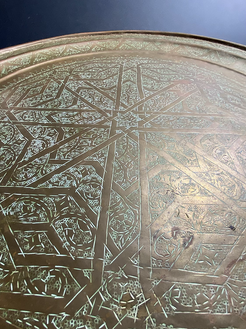Copper serving tray (teal green patina)