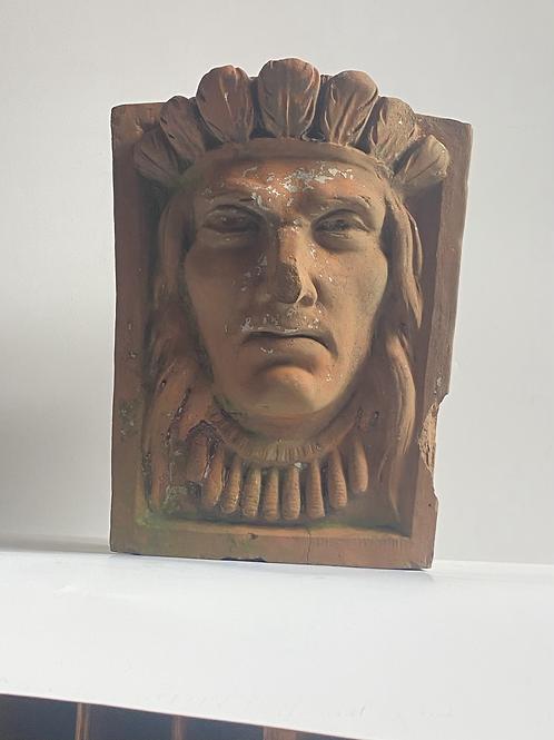 Terracotta Native American mascaron