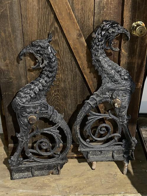 Set of 2 Gothic Griffin heavy metal sculptures