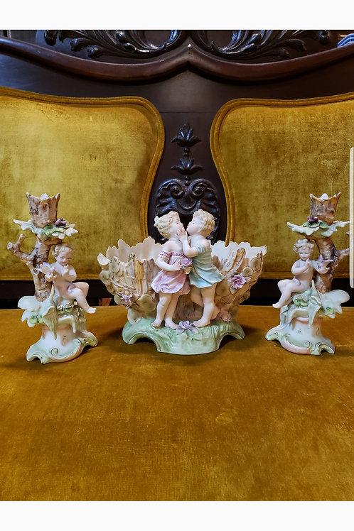 Ca. 1950's Porcelain Bisque Console Set