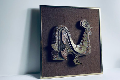 Mixed metal mounted sculpture