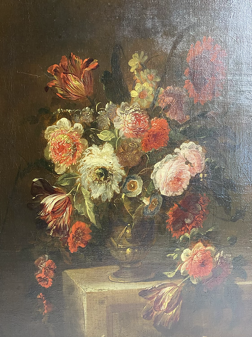 Bouquet of flowers on gold vase