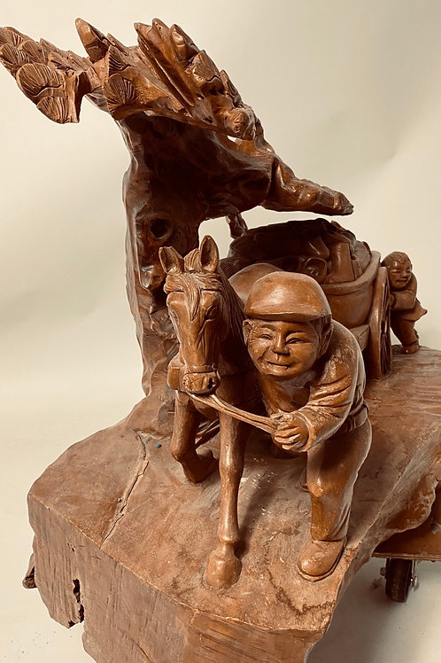 To harbor (Wooden sculpture) by C.C Cheng