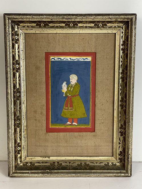 A standing portrait of the Moghal Emperor with pet bird