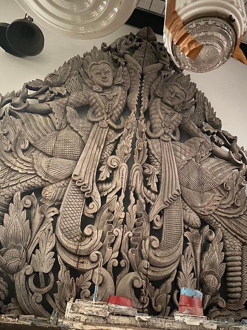 Hand carved Tibetan twin wall piece