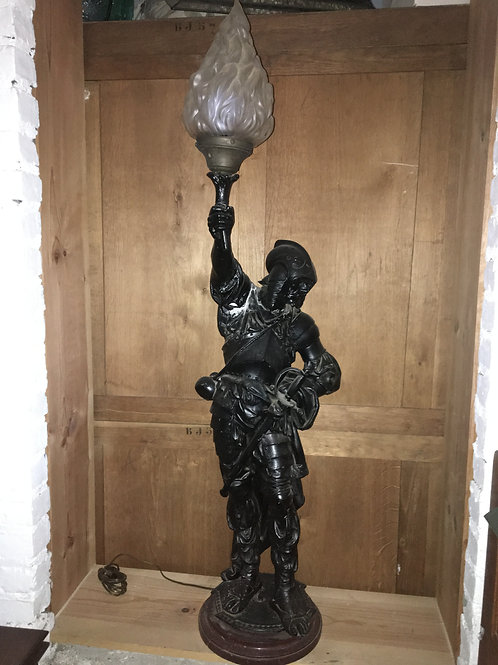 Large soldier statue torch lamp ( welded arm repair)
