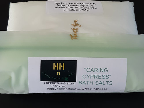 Bath salts with organic essential oils in an environment-friendly compostable bag