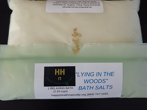 Bath salts with organic essential oils in environment friendly compostable bag