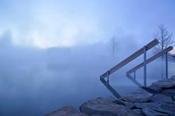 Secret Lagoon in the morning blue ho