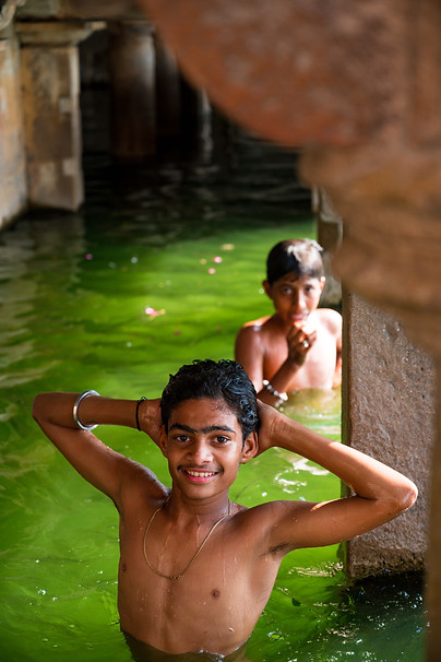 Kids playing at Gomukh Holy Kund in Chittorgarh
