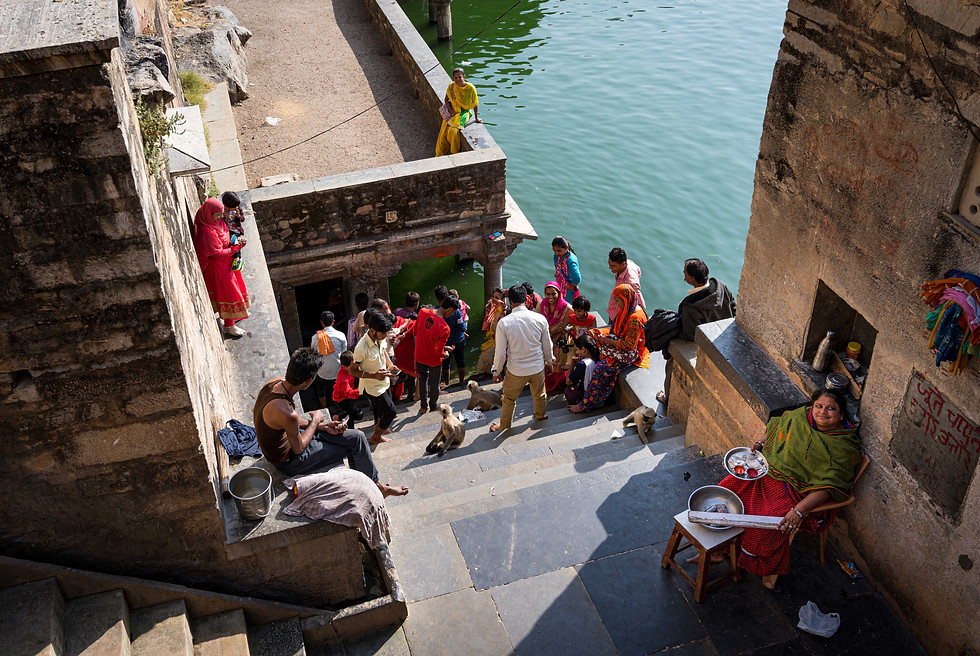 People Queing to see a Brahman at Gomukh Holy Kund in Chittorgarh