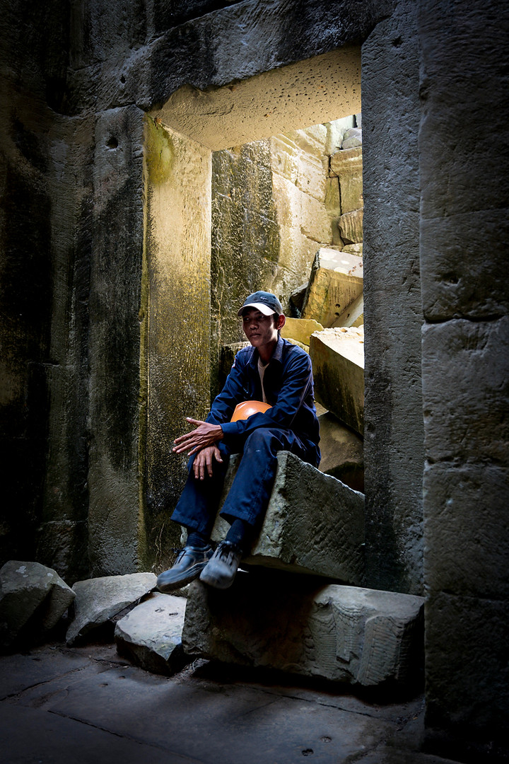 Worker at Angkor Temples