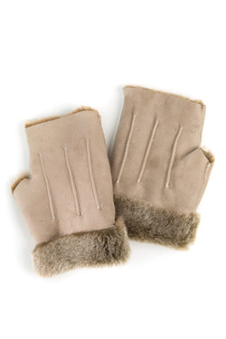 OBE Leather Cream Texting Mitts