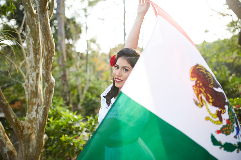 Commercial Portrait Photography - Female Mexican Model with Mexican Flag