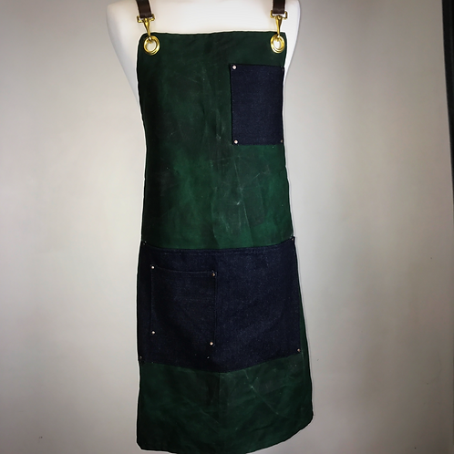 Bottle green hand waxed apron
