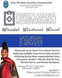 Domestic Violence: A Virtual Community Conversation about Wellness