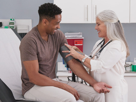 What is covered at a man's annual check-up?