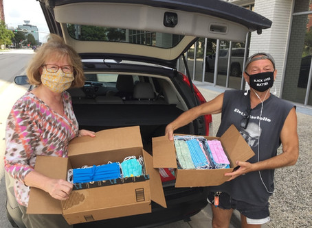 The delivery of 200 masks went to the Coalition for the Homeless of Houston!