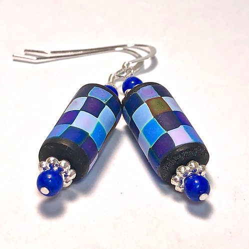Rainbow Pixel Earrings - Blue
