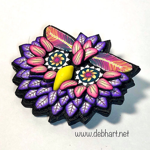 Owl Pin - purple/pink