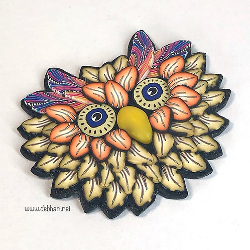 Owl Pin - Yellow/Orange