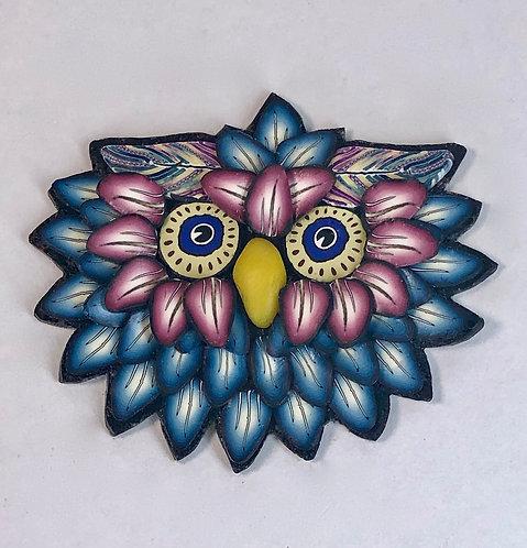 Owl Pin - Blue/Merlot