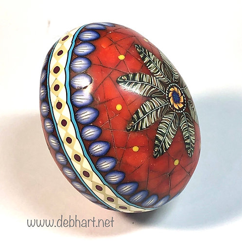 Red Coral Feather Mandala Easter Egg