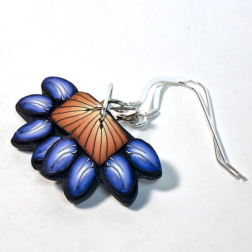 Squash Blossom Earrings - Orange/Blue Style 3