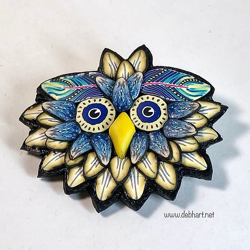Owl Pin - yellow/denim