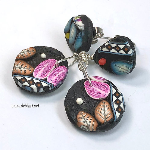 Paisley Slab Earrings - Small Round
