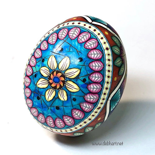 Turquoise/Red Coral/Amber Oval Frame Easter Egg