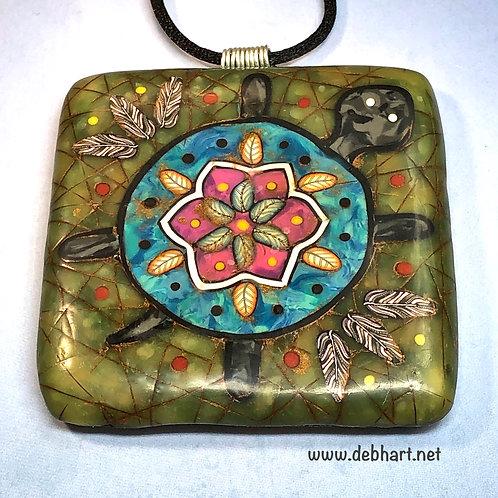 Turtle Petroglyph Pendant - Jade Background