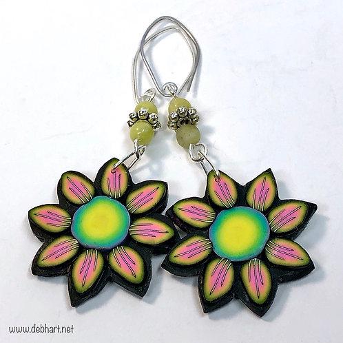 Flower Power Earrings - Sunset/Grass