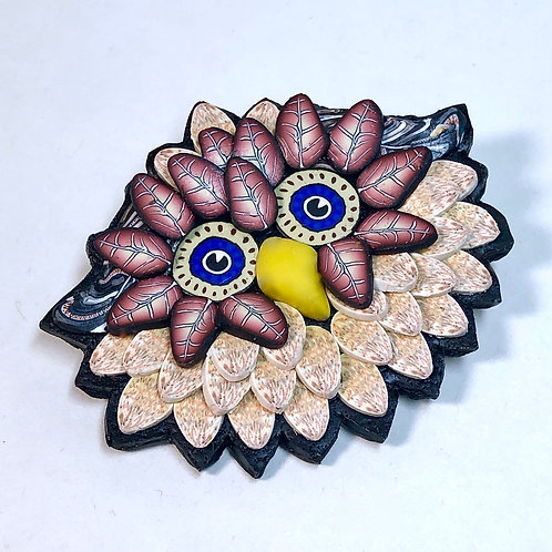 Owl Pin - peach/rust