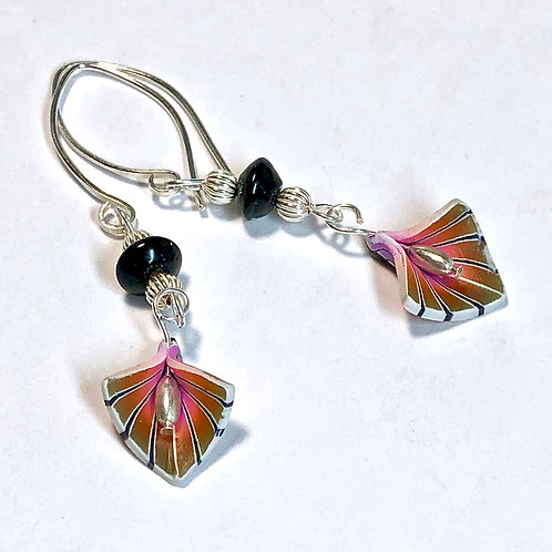Deco Petal Earrings - Pink/Gold Style 2