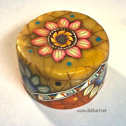 Round Amber/Red Coral Art Box